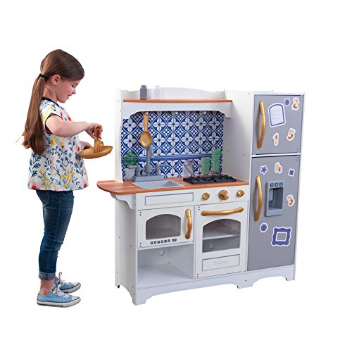 KidKraft Wooden Mosaic Magnetic Play Kitchen with Magnets, Multi
