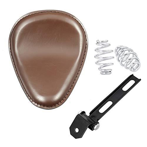 "Amazicha Brown Leather Solo Seat 3"" Chrome Springs Bracket Mount Kit Motorcycle Compatible for Harley Honda Yamaha Kawasaki Suzuki Sportster Bobber Chopper"