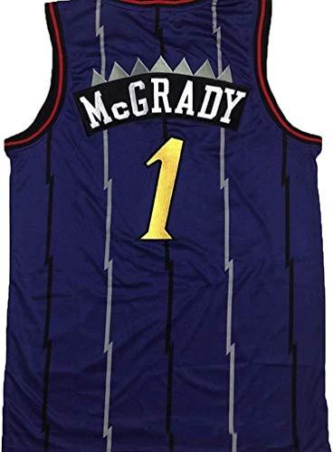 JYV Unisex Weste Basketball Jersey, Toronto Raptors Bulls Ärmel Tracy McGrady # 1, kühlen Breathable T-Shirt (Farbe : Blue, Size : S)