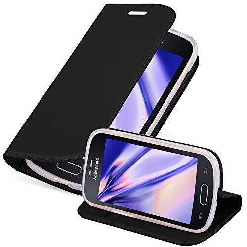 Cadorabo Custodia Libro per Samsung Galaxy Trend Lite in Classy Nero – con Vani di Carte, Funzione Stand e Chiusura Magnetica – Portafoglio Cover Case Wallet Book Etui Protezione
