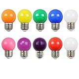 Lot de 10 2W Ampoule Led Culot E27 Globe G45, Couleur LED Lampe pour l'éclairage des fêtes, Outdoor Patio Party Christmas