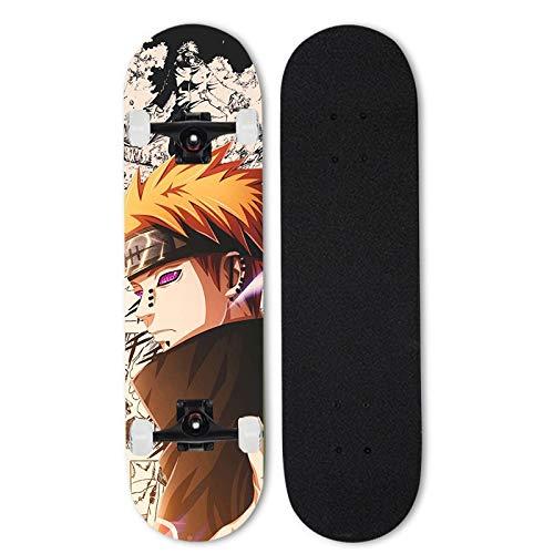 FWAHB Anime Skateboard, Naruto: Schmerz, Anfänger Skateboard, kühlen Skateboard for Jugendliche, Vier-Rad-Skateboard, Double Rocker for Erwachsene, Ahorn Material, Geschenk