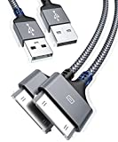 AkoaDa Apple Certified 30 Pin USB Charging Cable 10ft 2 Pack, USB Sync Charging Cord Cables Compatible iPhone 4 4s, iPhone 3G 3GS, iPad 1 2 3 iPod Touch 4 3 2 1, iPod Classic 3 2 1, Grey