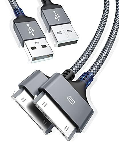 AkoaDa - Cable de carga para iPhone 4, 4S, 3 G, 3 USB, 2 unidades, color gris