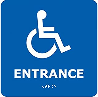 ADA17WBL National Marker ADA Braille Sign, Entrance (with Handicap Symbol), Blue, 8 Inches x 8 Inches