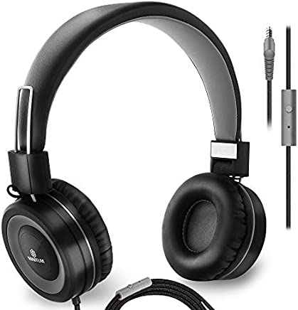 On-Ear Headphones with Microphone - Lightweight Folding Headset for Computer, Tablet Ipad Smart Phone MP3 Comfortable Adjustable fit Music bass | Tangle Free 1.5m Cord with 3.5mm Jack