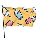 GOSMAO Bandera de 3x5 Ft Bandera de jardín de té de Leche de Perlas Bandera Decorativa para el hogar Bandera de Patrulla de disuasión