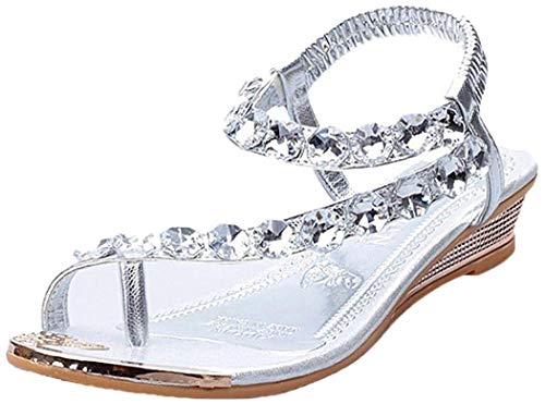 Damen Sommer Sandalen Strass Wohnungen Plattform Keile Schuhe Flip Flops Strandschuhe Zehentrenner (39, Silver)