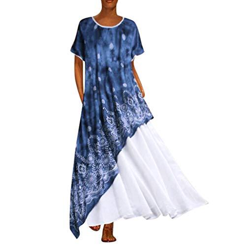 Lazzboy Plus Size Frauen Vintage O Neck Spleißen Kurzarm Maxi-Kleid Sommerkleid Damen Boho Kleid Große Größen Sommer Faltenrock Partykleid Abendkleid Strandkleider (Weiß,2XL)