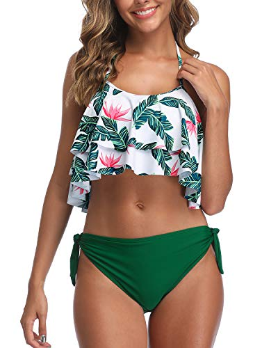 Aqua Eve Women Halter Flounce Bikini Swimsuit Ruffle Two Piece Bathing Suits Green XX-Small