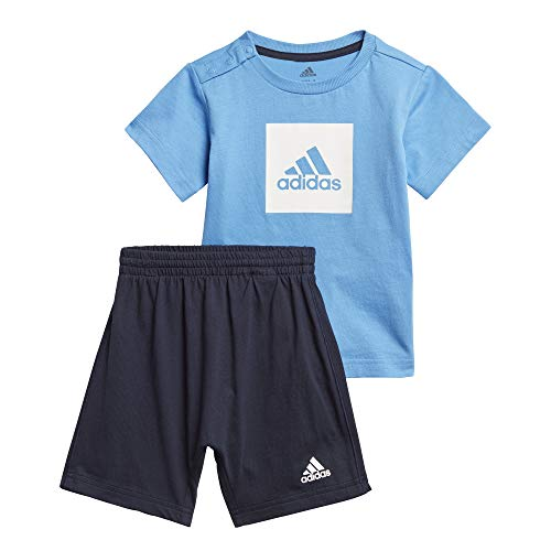 adidas I Logo Sum Set Chándal, Unisex bebé, Top:Lucky Blue/White Bottom:Legend Ink f17/White, 1218M
