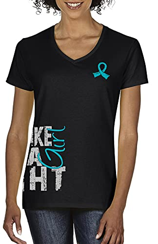 Fight Like a Girl Side Wrap Ladies V-Neck T-Shirt for Ovarian, Peritoneal, Gynecologic Cancer Awareness - Black w/Teal [M]