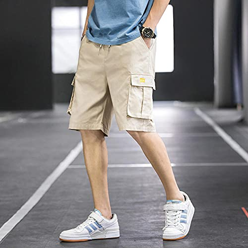 WQDS Pantalones Cortos de Verano Modelo Fino de Hombres Multi-Bolsillo Casual Casual Five Pants Pantalones de Playa para hombres-277 Khaki_L