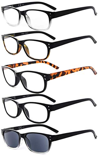 Eyekepper 5-Pack Spring Hinges Vintage Reading Glasses Includes Sunglasses Readers