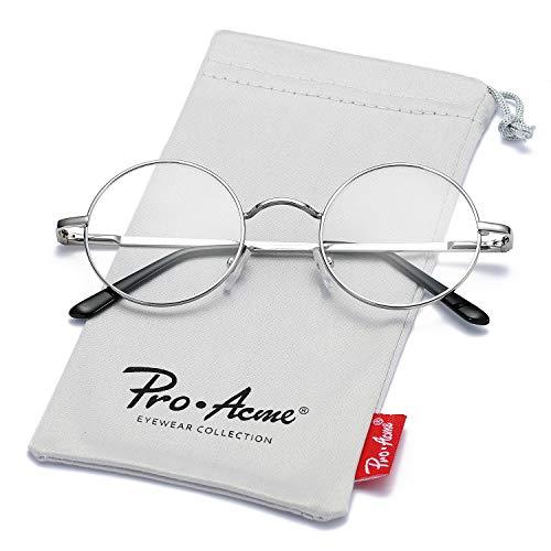 Pro Acme Non Prescription Clear Lens Glasses Retro Small Round Metal Frame (Silver)