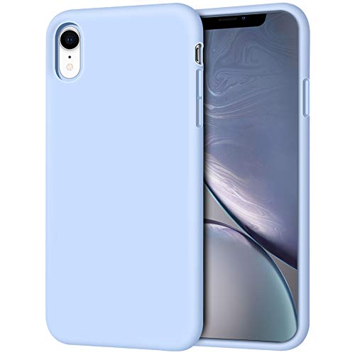 Anuck Case for iPhone XR Case 6.1 inch 2018, Soft Silicone Gel Rubber Bumper Phone Case with Anti-Scratch Microfiber Lining Hard Shell Shockproof Full-Body Protective Case Cover - Light Blue