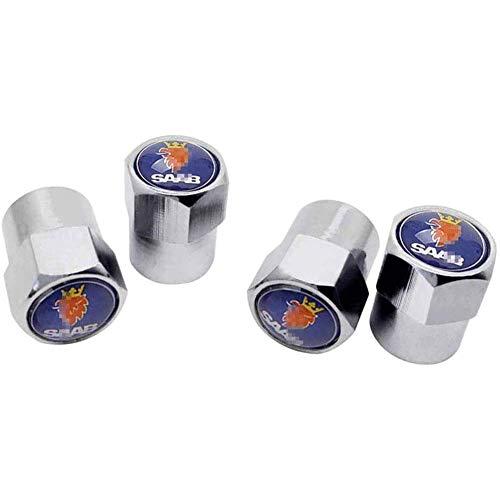 4pcs Tapas para válvulas Tapones de válvula de neumático de automóvil, Ruedas Cubierta de polvo Tapas de aire de vástago de neumático Cubiertas herméticas, para SAAB 9-3 9-5 93 9000 900 9-7 600 99 9-X