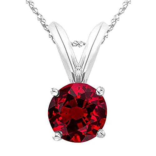 Houston Diamond District 1/2 0.5 Carat 14K White Gold Round Ruby 4 Prong Solitaire Pendant Necklace (AAA Quality) W/ 16' Silver Chain
