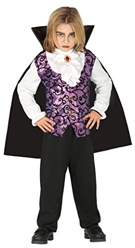 Generique - Disfraz Joven Vampiro Morado y Negro niño - 3-4 años (95-105 cm)