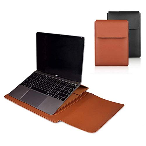 """MAKEMYDAY3 13""""-15"""" PU Leather Laptop Sleeve Case with Stand and Mouse Pad for MacBook Pro and Portable and Easy Stand for Work from Home and Home School"""