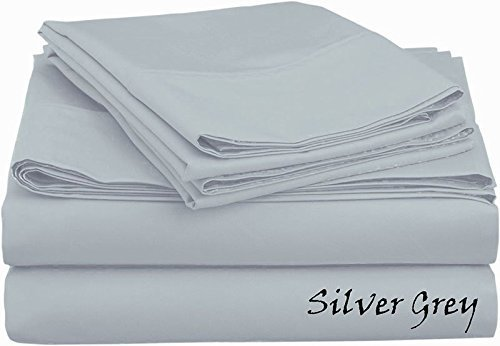 """Top Selling Egyptian Cotton 500-Thread-Count (RV 42x80 Size) 4-Piece Sheet Set Adjustable Deep Pocket Fits 10-12"""" Deep Pocket - Solid Pattern, Silver Grey Color"""