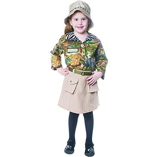 Dress Up America 514-T4 Süßes Nettes Safari Mädchen Kostüm, Mehrfarbig, Größe 3-4 Jahre (Taille: 66-71 Höhe: 91-99 cm)