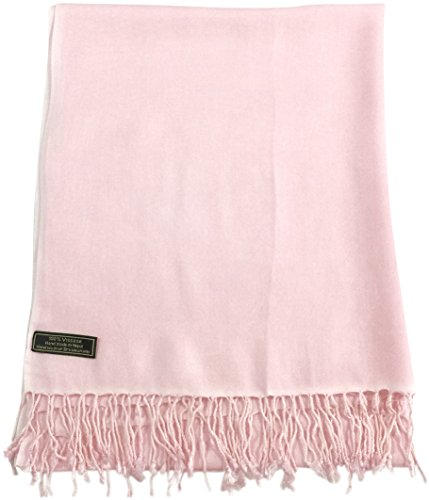 CJ Apparel Baby Pink Solid Colour Design Nepalese Shawl Pashmina Scarf Wrap NEW