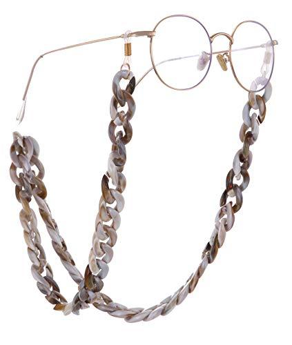 EUEAVAN Retenedor de Gafas de acrílico Cadena Gafas de Sol Correa Cadena Gafas de Lectura Collares Cadena para Mujeres y Hombres (Color café)