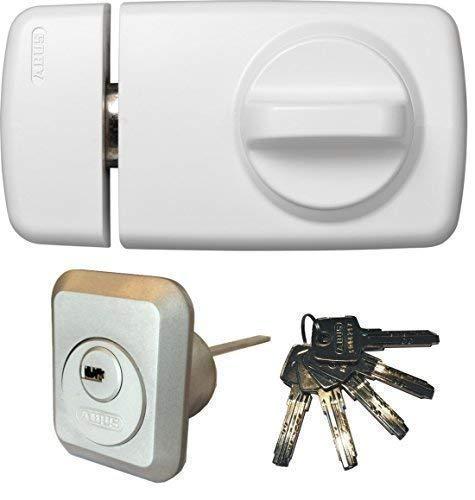 ABUS Tür-Zusatzschloss 7010 W weiß, EC550, Kastenschloss mit Drehknauf, mit 5 Schlüssel, Ausführung EK (Metallausführung)