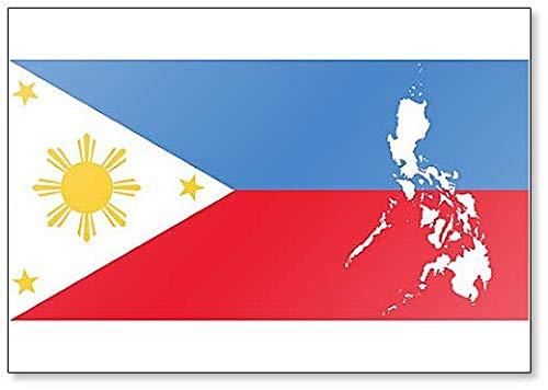 Kühlschrankmagnet, Motiv: Karte der Republik der Philippinen & Filipinische Flagge