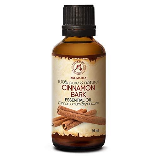 Aceite Esencial de Corteza de Canela 50ml - Cinnamomum Zeylanicum - Aromaterapia - Fragancia para el hogar - Aceite de Canela 100% Puro para - Cuidado de la Piel y el Cabello - Difusores - Relajación