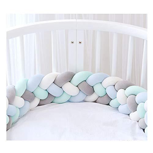 Bettumrandung,Baby Nestchen Kinderbett Stoßstange Weben Bettumrandung Kantenschutz Kopfschutz für Babybett Bettausstattung 220cm (Weiß + Grau + Blau + Grün)