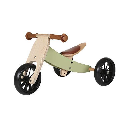 Bandits & Angels Lauflernrad / Laufrad aus Holz 4-in-1 Smartbike ab 1 Jahre (Retro Grün)