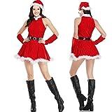 Adultos mujeres vestido de columpio de Navidad con cinturón Sexy felpa cálida terciopelo rojo disfraz de Papá Noel ropa de fiesta de Navidad de Navidad