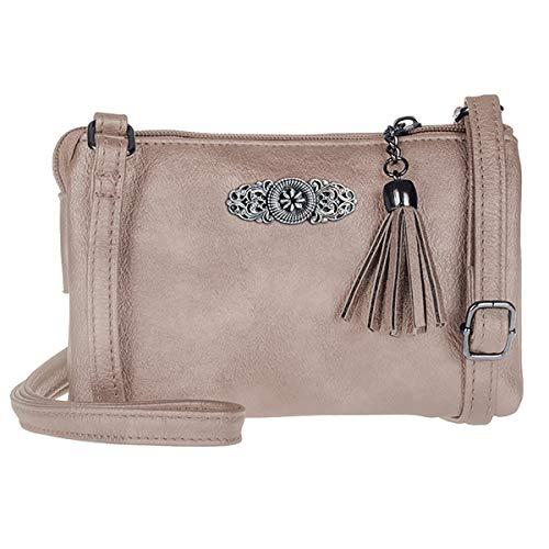 Schuhmacher Trachtentasche Dirndltasche kleine Umhängetasche Kunst-Leder taupe beige