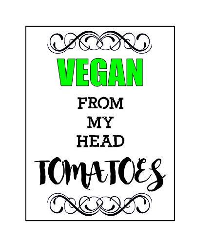 Ecool Vegan van mijn hoofd tomaten grappige retro shabby chic vintage stijl foto metalen muur plaque teken koelkast magneet