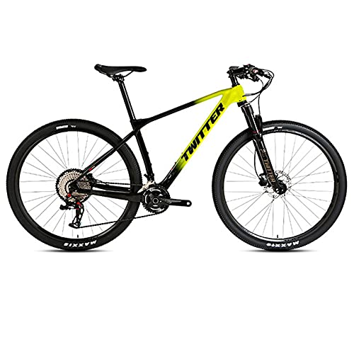 EWYI Bicicleta De Montaña Fibra Carbono, 27.5/29'' MTB Antideslizante Absorción Impactos, Horquilla Aire Controlada por Alambre Aleación Magnesio Y Aluminio, Bicicleta Es Black Yellow-27.5''