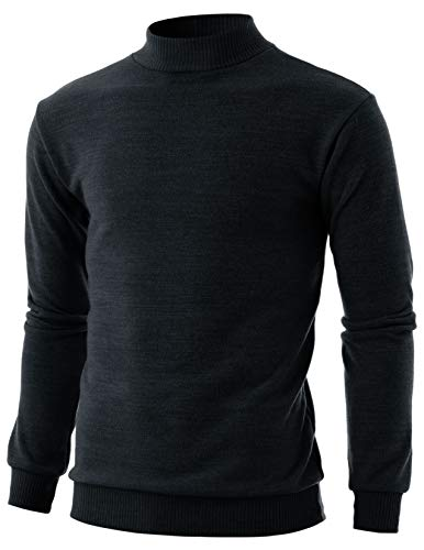 GIVON Mens Slim Fit Long Sleeve Mock Neck Ribbed Hem Pullover Sweater/DCP224-BLACK-M