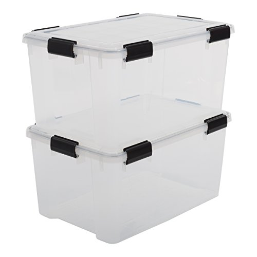 Iris Ohyama, 2er-Set luftdichte Aufbewahrungsboxen - All-Weather AT-L - plastik, transparent, 2 x 50 L, L59 x B39 x H29 cm