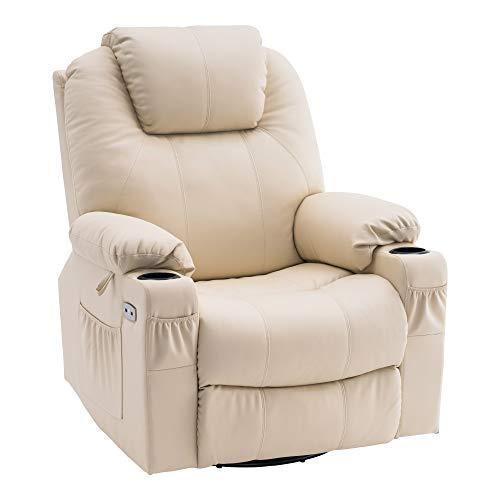 MCombo Elektrisch Relaxsessel Massagesessel 240° drehbar+Heizung+Vibration 7070 (Cremeweiß)