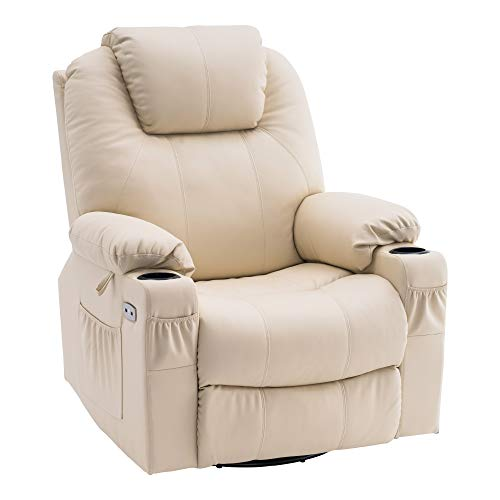 MCombo Elektrisch Relaxsessel Massagesessel 240° Dreh und Schaukel+Heizung+Vibration 7070 (Cremeweiß)
