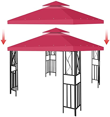 ASEDF Funda De Repuesto para Cenador, 3 X 3 M, Cobertura Superior para Cenador, Lona Impermeable De Repuesto para Cenador