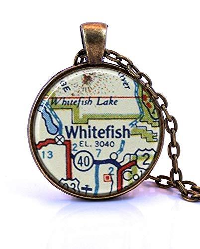 heng yuan tian cheng collar con colgante de mapa de pescado blanco, creado a partir de un mapa de 1956, joyería de mapa, collar de mapa, colgante de mapa, joyería personalizada, joyería personalizada