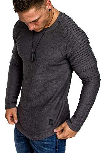 Amaci&Sons Oversize Vintage Herren Pullover Biker-Style Hoodie Sweatshirt Crew-Neck 6069 Iron M