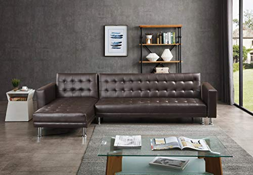 Greatime S2605 Leatherette Convertible Section Sofa (Brown)