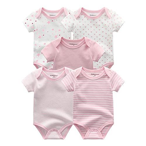 Kiddiezoom Baby-Body, Hose, Kleinkinder, Einteiler, Kleidung, Set, Outfits, für Jungen und Mädchen, Baumwollkappen, Kratzfäustlinge Gr. 80, 5er-Pack süße rosa Bodys
