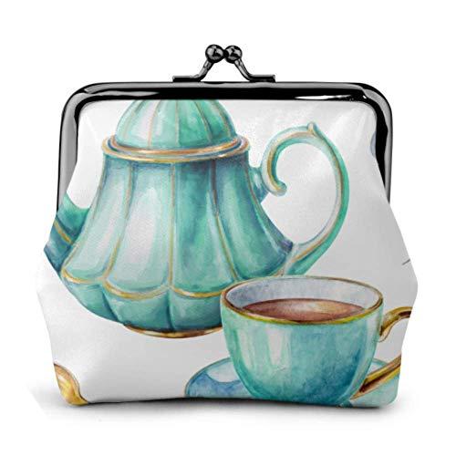 BGHYT Münztasche Tasse Tee Teekanne Löffel Schnalle Leder Münz Geldbörse Beutel Mini Beutel Schloss Geldbörse Geldbörsen wechseln