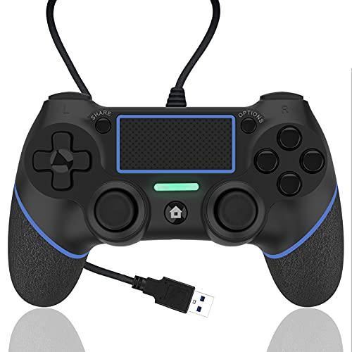 AQCTIM Wired Gaming Gamepad Controller für PS-4/Pro/Slim/PC/USB Gamepad Joystick mit Dual Vibration und Anti-Rutsch-Griff(Blue)