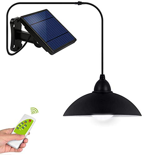 Solar Shed Lights Outdoor - IP65 Waterproof Solar Powered Hanging Light with Remote Control 16.4Ft Cord LED Pendant Lamp,Adjustable Solar Panel for Garden Patio Camping and Home Decoration-Cool White