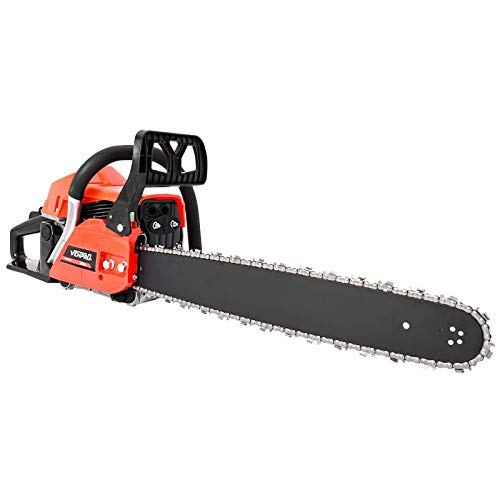 20 Inch 58CC Gas Powered Chainsaw 2 Stroke Handed Petrol Gasoline Chain Saw Handheld Cordless Petrol Gasoline Chain Saw for Cutting Wood Garden Farm Home Use 【US Spot】